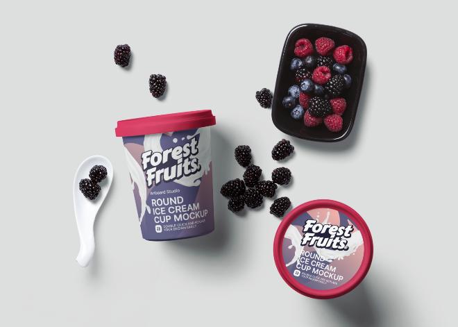 Round Ice Cream Cup Mockup Scene