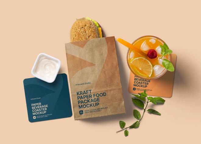 Kraft Food Package Mockup Scene