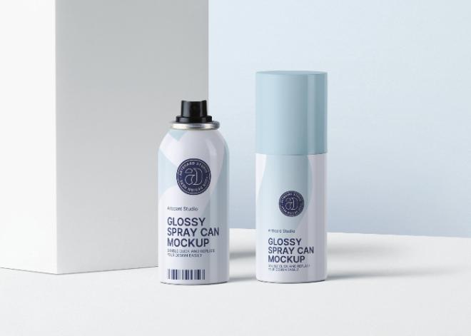 Glossy Spray Can Mockup Scene