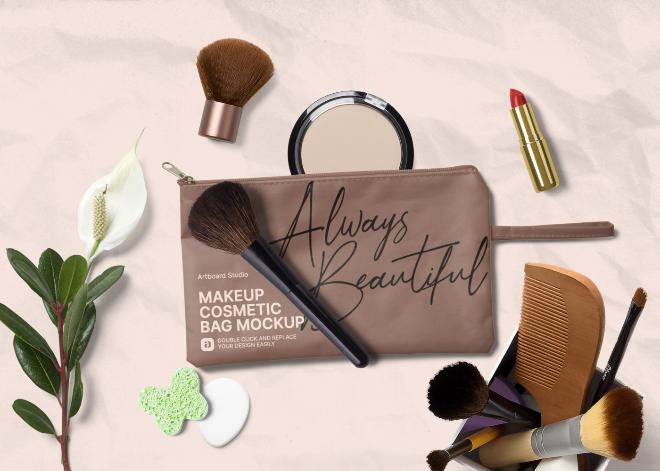 Makeup Cosmetic Bag Mockup Scene