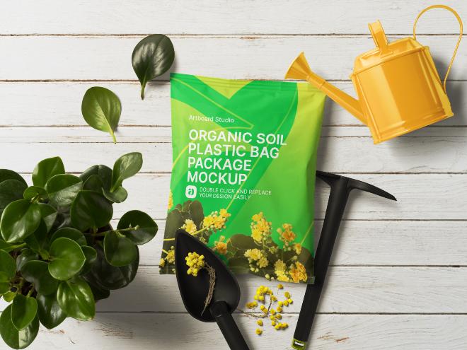 Organic Soil Plastic Bag Package Mockup Scene