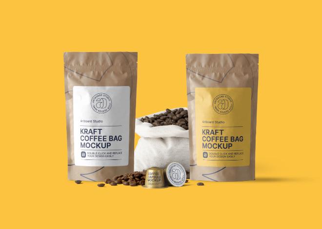 Kraft Coffee Bag Package Mockup Scene