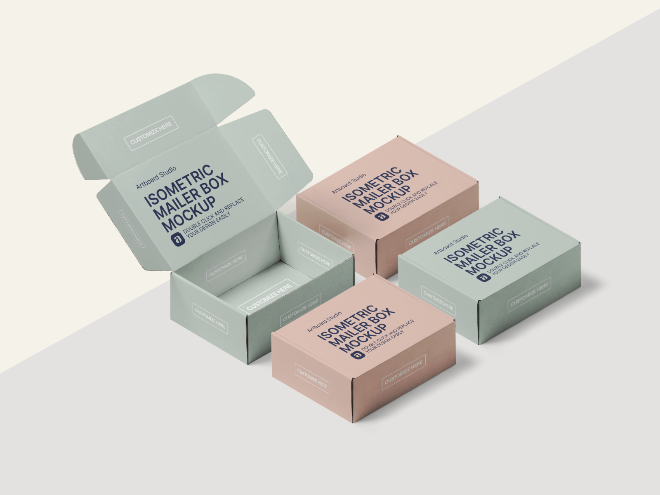 Isometric Mailer Boxes Mockup Scene