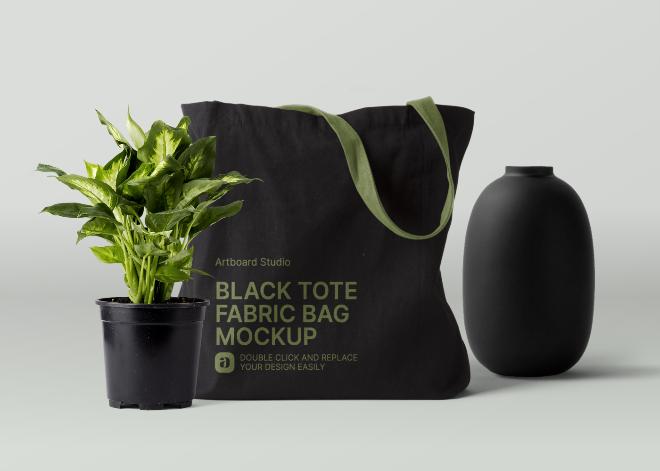 Black Tote Fabric Bag Mockup Scene