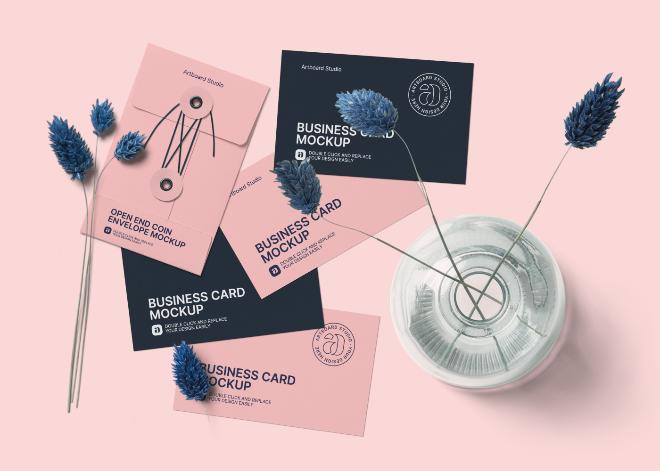 Business Cards and Envelope Mockup Scene