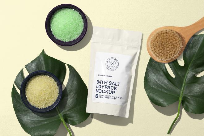 Bath Salt Doypack Package Mockup Scene