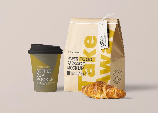 Take Away Cafe Package Mockup Scene