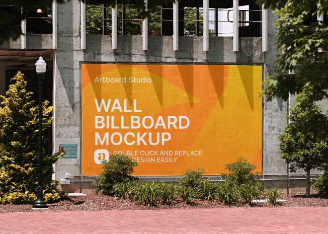 Wall Billboard Mockup Template