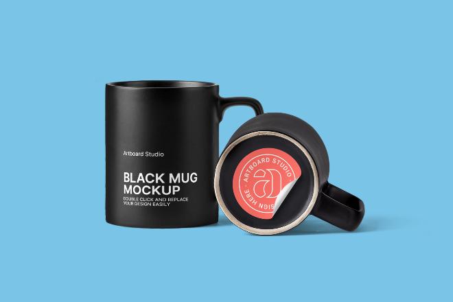 Black Coffee Mug Mockup Scene