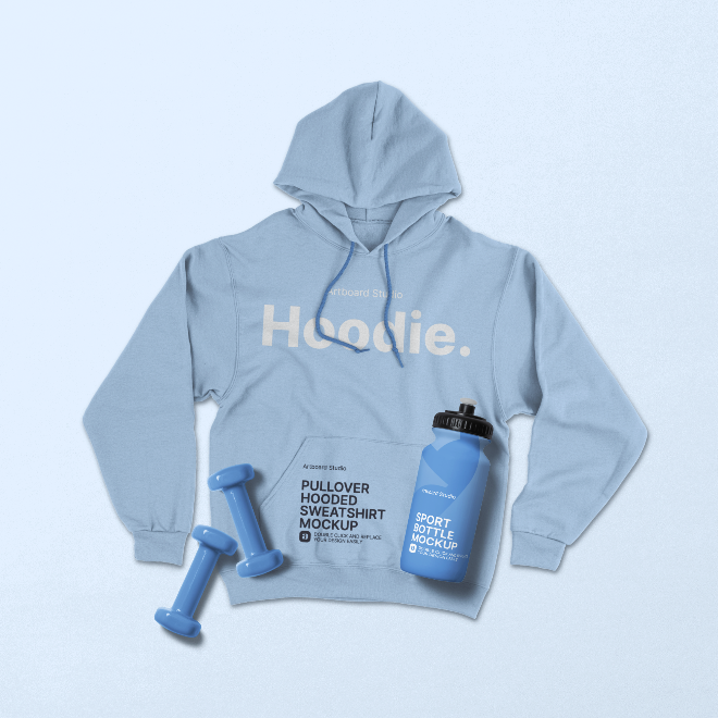 Pullover Hooded Sweatshirt with Sport Products Mockup Scene
