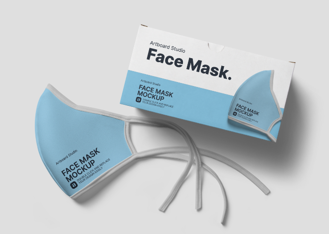Face Mask with Box Mockup Scene