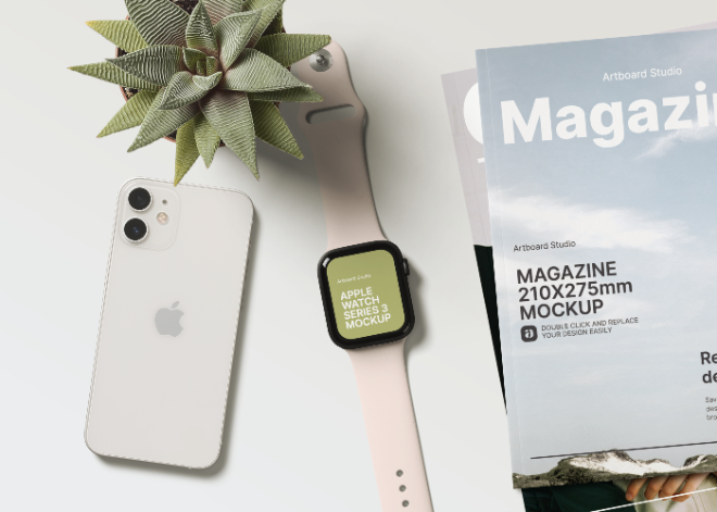 Apple Watch and Magazine Mockup Scene