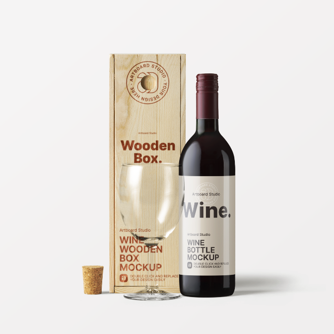 Wine Bottle with Wooden Box Mockup Template