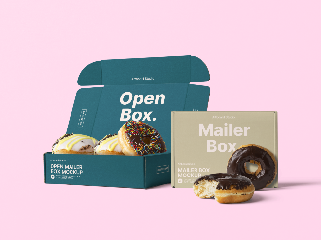 Donuts and Mailer Boxes Mockup Template