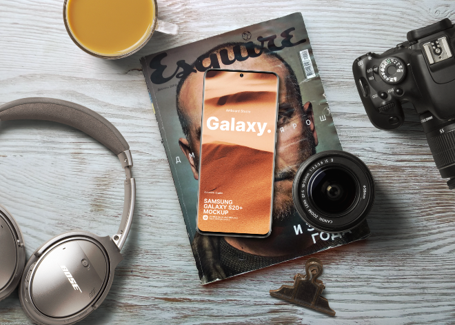 Samsung Galaxy S20+ Flat Lay Mockup Template
