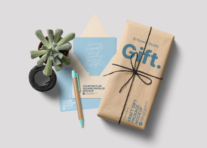 Wrapped Gift Package and Notecards with Envelope Mockup Template