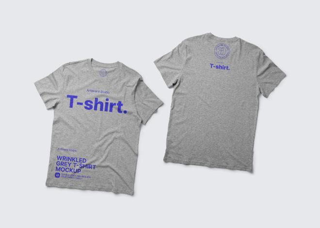 Wrinkled Grey T-shirt Mockup Template
