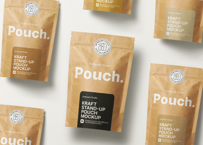 Kraft Paper Stand-up Pouch Mockup Template