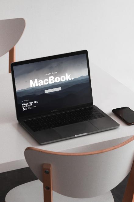 MacBook Pro on Table Mockup Template
