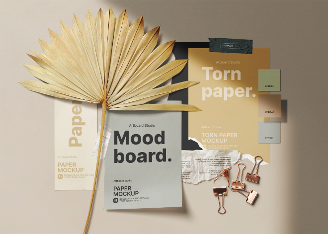 Mood board Paper Color Palette with Dried Palm Branch Mockup Template
