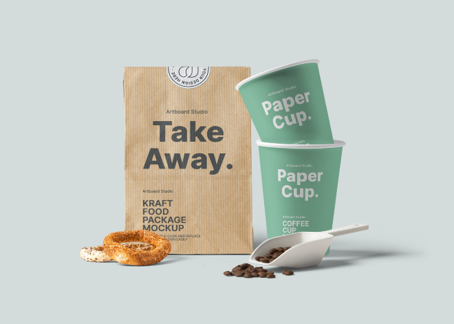 Kraft Paper Bag and Paper Cup Mockup Template