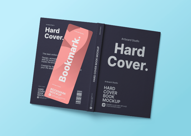 Hardcover Book with a Bookmark Mockup Template