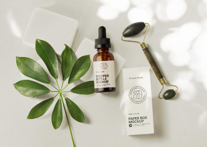 Amber Dropper Bottle Cosmetic Mockup Template