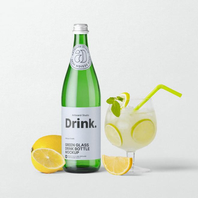 Green Glass Drink Bottle Mockup Template