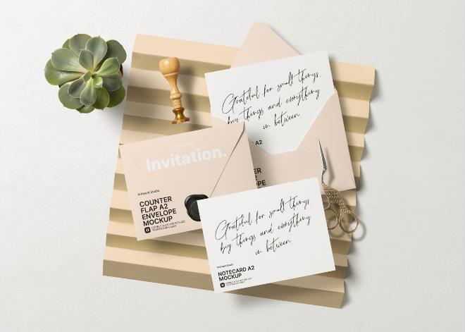 Wedding Invitation Set Envelope Mockup Template