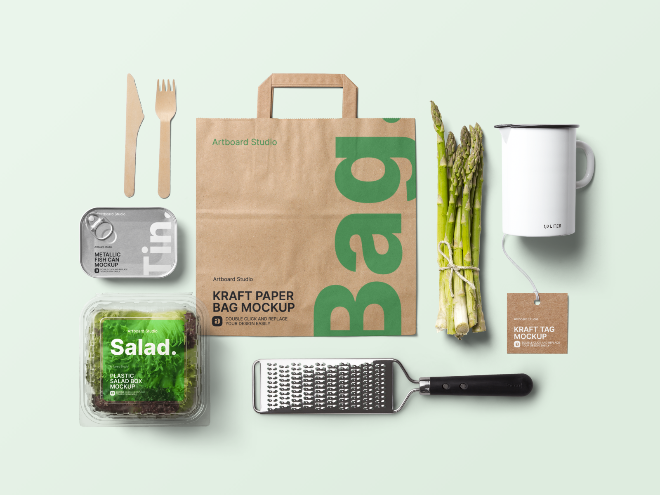 Organic Food Packaging w/Kitchen Products Mockup Template