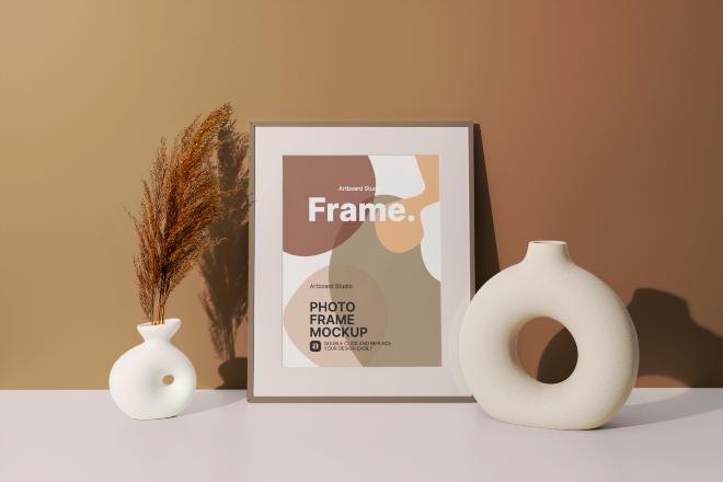 Photo Frame with Decorative Vase Mockup Template