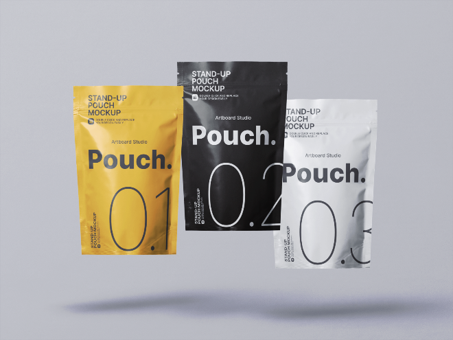 Flying Stand-up Pouch Mockup Template