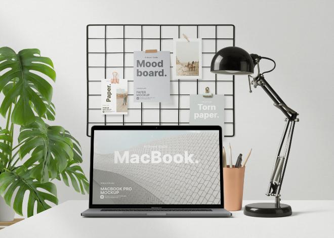 Workspace Mood Board Mockup Template