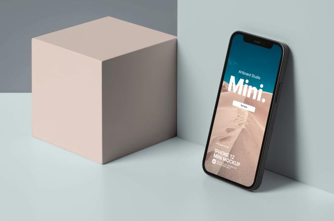 Perspective iPhone 12 Mini Mockup Template