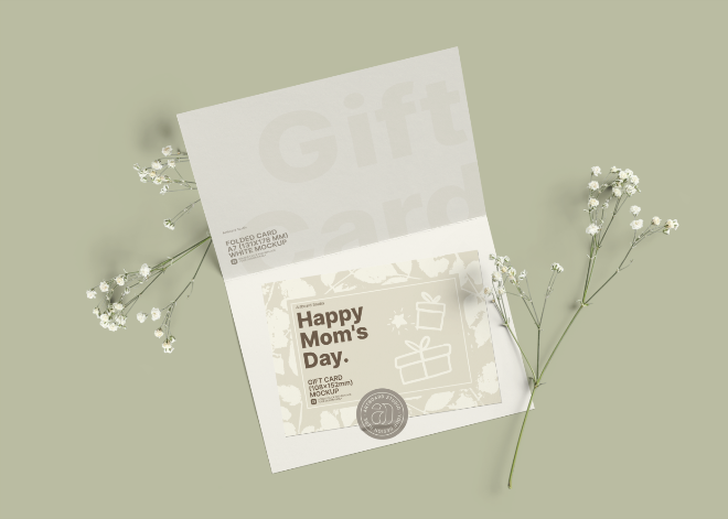 Free Mother's Day Gift Card Mockup Template