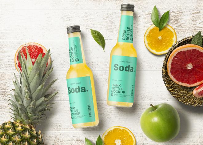 Clear Glass Soft Drink Bottle Mockup Template