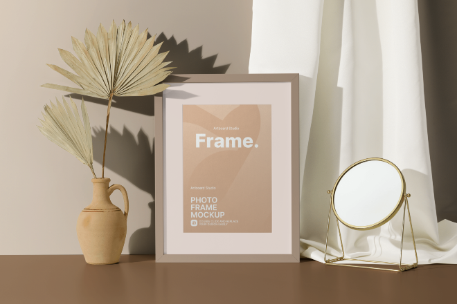 Photo Frame with Decorative Items Mockup Template