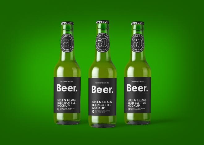 Green Glass Beer Bottle Mockup Template