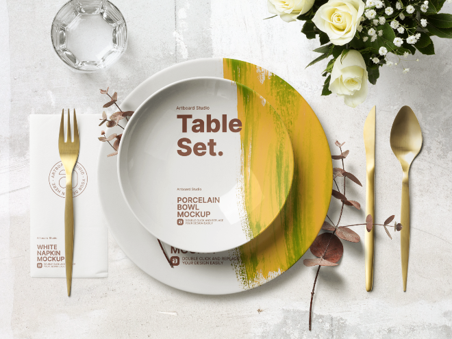 Dinner Table Placement Set Mockup Template