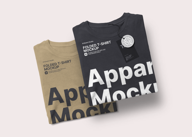 Top View Folded T-Shirt Mockup Template