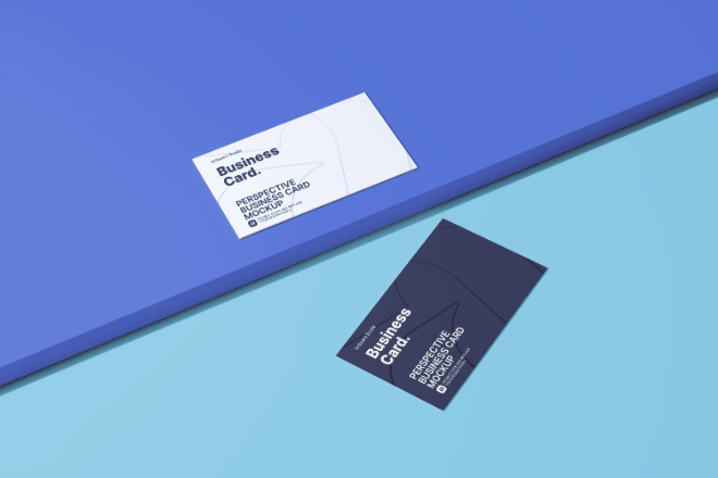 Perspective Business Cards Mockup Template