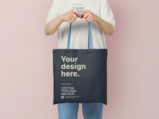 Woman is Holding Cotton Tote Bag Mockup Template