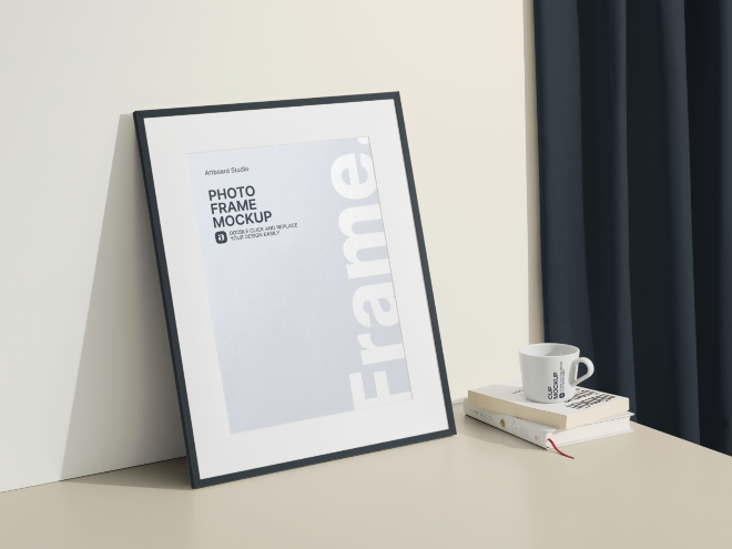 Photo Frame on the Table Mockup Template