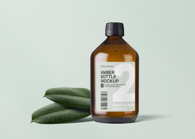Pharmaceutical Amber Bottle Mockup Template