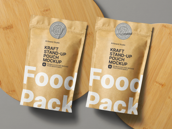 Kraft Paper Stand-up Pouch Food Packaging Mockup Template