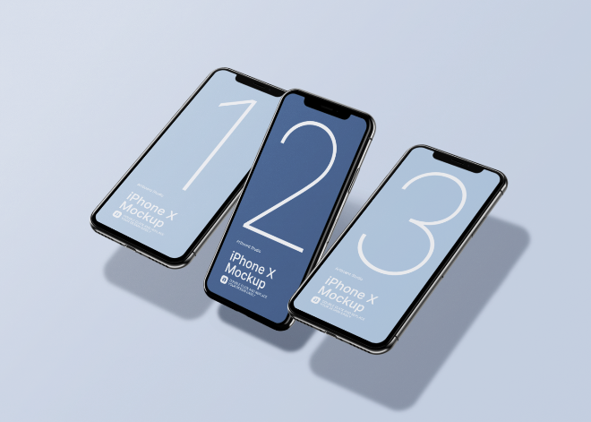 Floating iPhone X Mockup Template