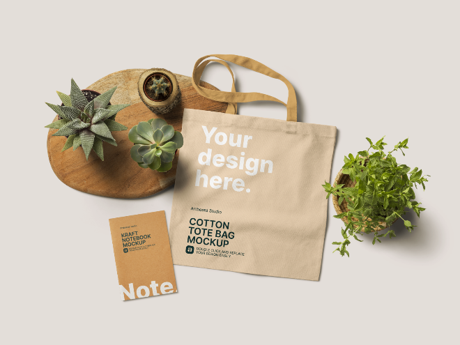 Cotton Tote Bag Mockup Template