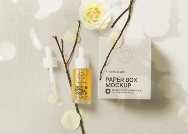 Dropper Bottle and Paper Box Mockup Template