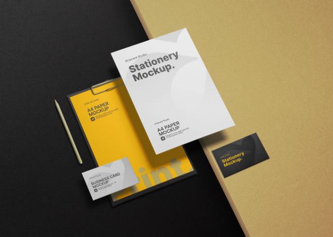 High Angle Stationery Branding Mockup Template