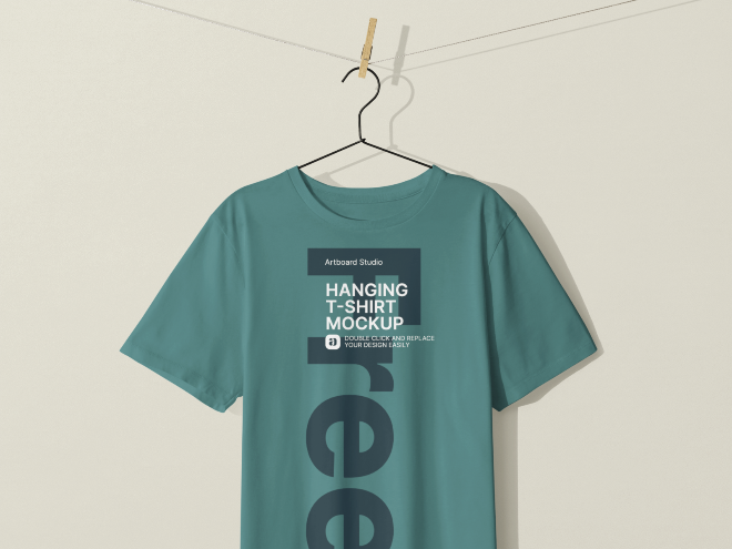 Free Hanging T-shirt Mockup Template